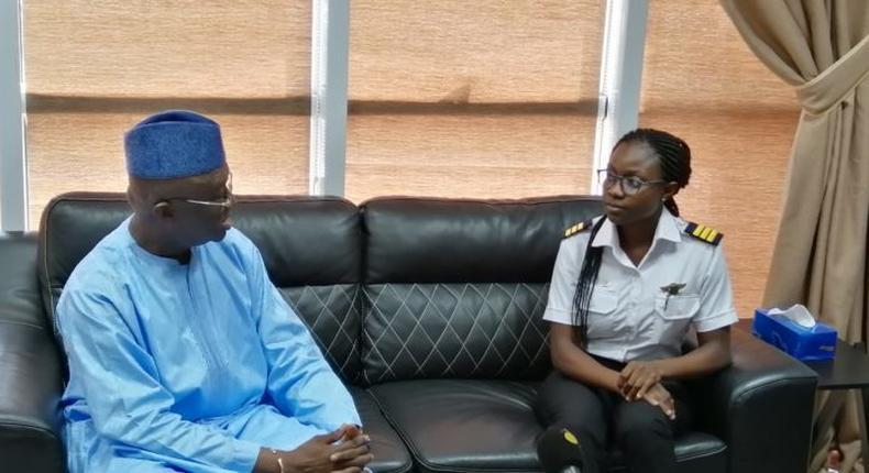 Ghana's Aviation Minister Joseph Kofi Adda with Audrey Esi Swatson youngest Ghanaian female pilot