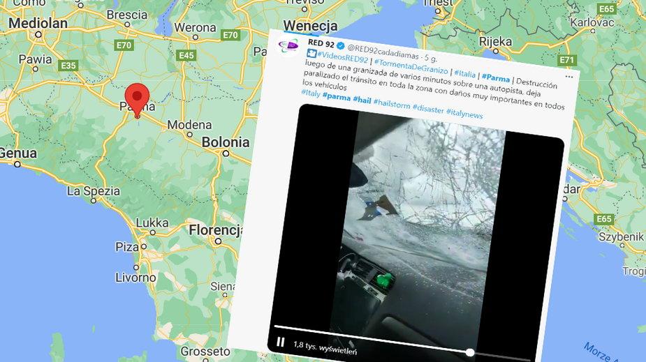 Gradobicie we Włoszech, Ponad 100 samochodów zostało uszkodzonych