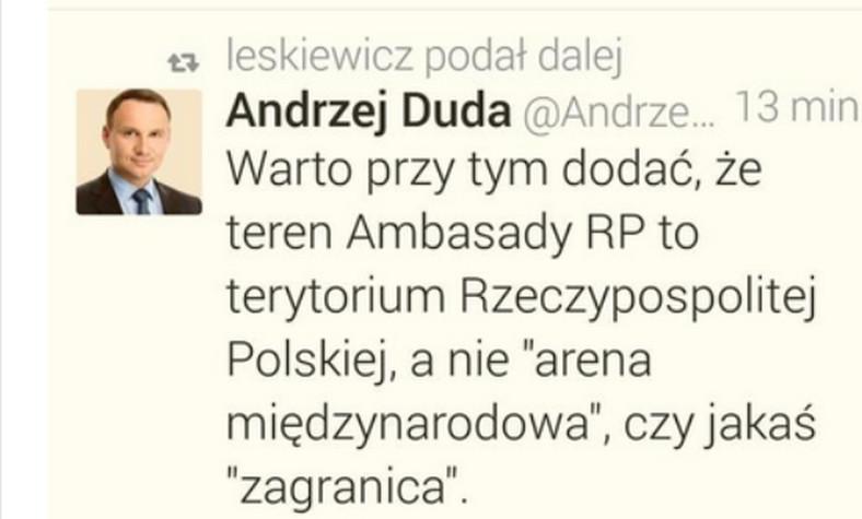 Tweet Andrzeja Dudy