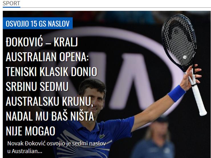 Novak Đoković. mediji
