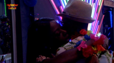 For the BBNaija 11th Saturday Night Party, Diane and Elozonam, whose team won N1million earlier in the day couldn't get their hands off each other. [Twitter/BBNaija]