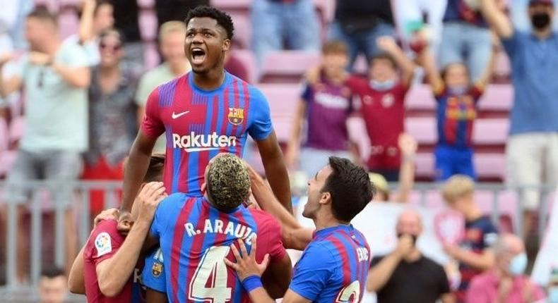 Ansu Fati scored on his return against Levante on Sunday after 10 months out through injury