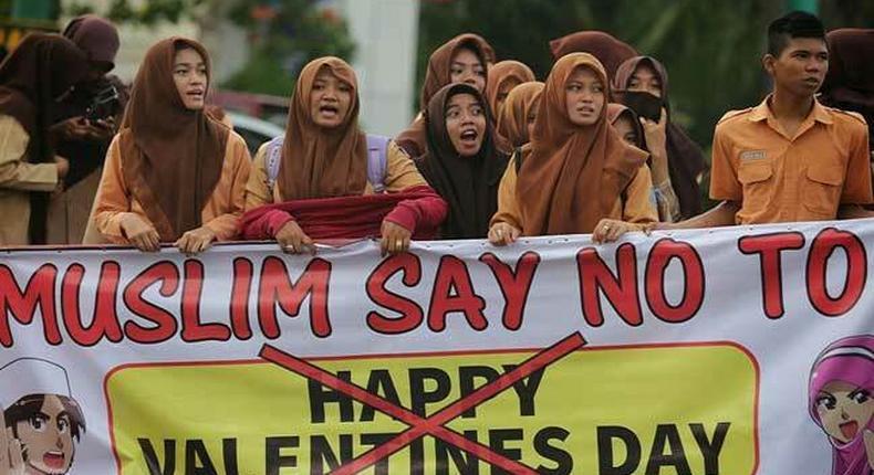 Muslim students protest celebration of Valentine's day