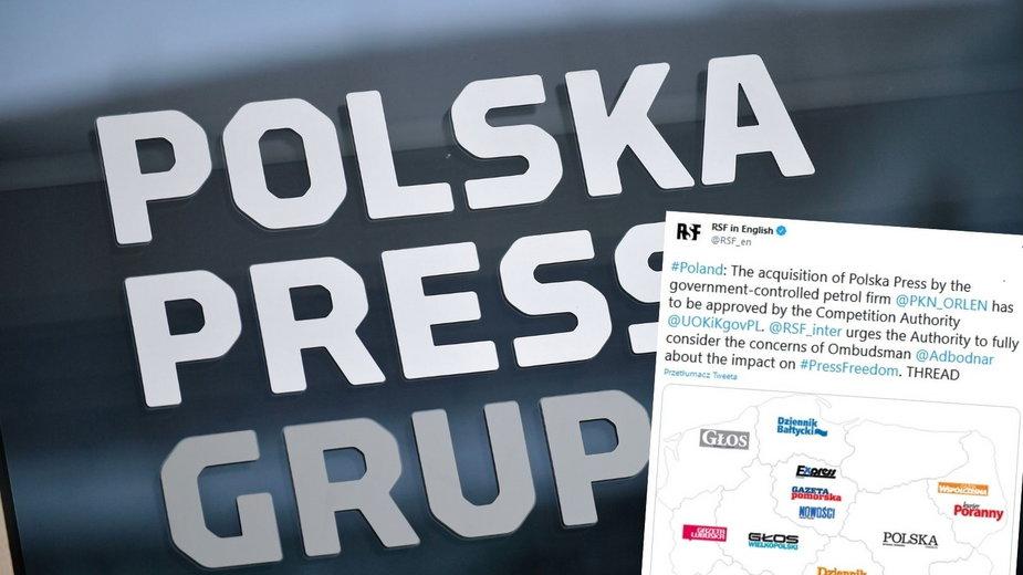 Organizacja Reporterzy bez Granic apeluje ws. przejęcia Polska Press