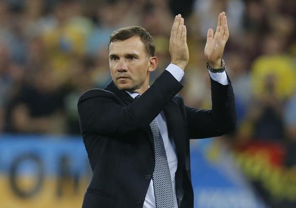 Andrej Ševčenko, selektor Ukrajine, slavi pobedu nad Srbijom od čak 5:0