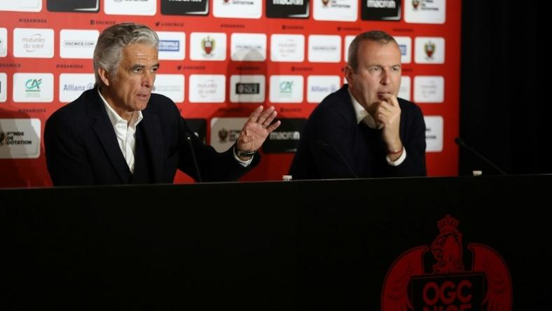 Nice's French club president Jean-Pierre Rivere (L) and French sporting director Julien Fournier announce that they will sell their remaining 20% stake in the Ligue 1 side Nice and will stand down in May 2019