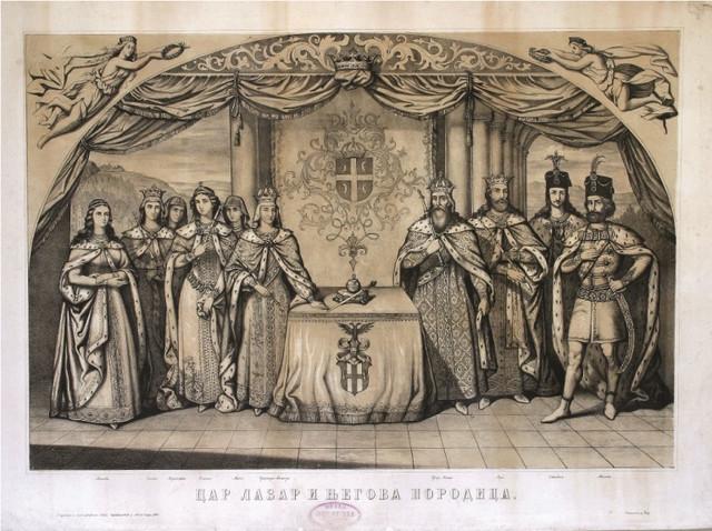 Car Lazar i njegova porodica, litografija Pavla Čortanovića, 1860, Istorijski muzej Srbije, Beograd