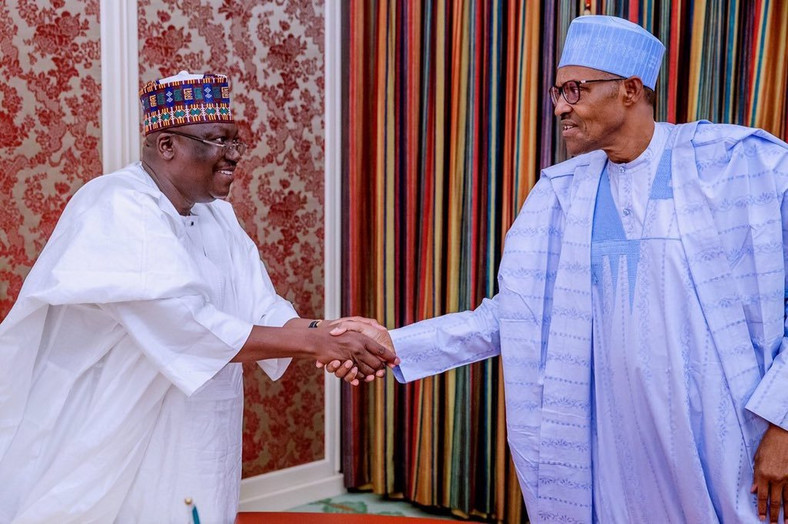 President of the Senate Ahmad Lawan met with President Muhammadu Buhari in his office at the Presidential Villa, Abuja recently [Twitter/@SPNigeria]