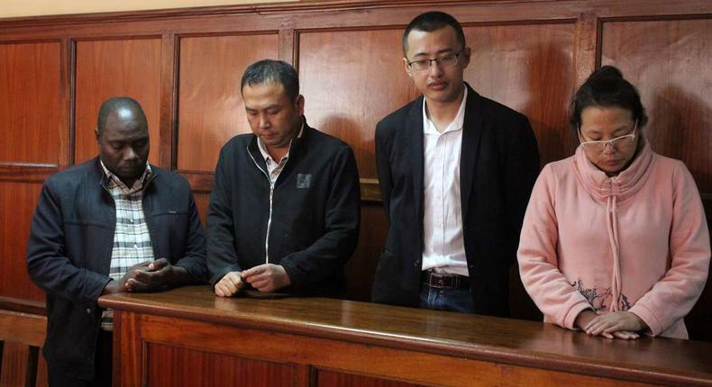 File image of a Kenyan National and three Chinese nationals who were arrested with wildlife trophies in 2029 at the Milimani Law Courts
