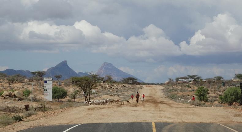 The end of an asphalt road at the junction of Samburu County and Marsabit County in northern Kenya