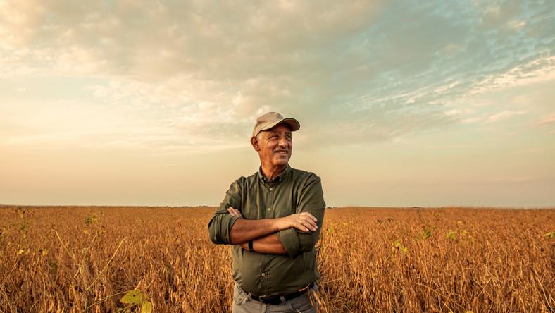 rolnik, pole, zboże, krus, rolnictwo, mężczyzna, starszy, emeryt, wieś. / fot. Shutterstock