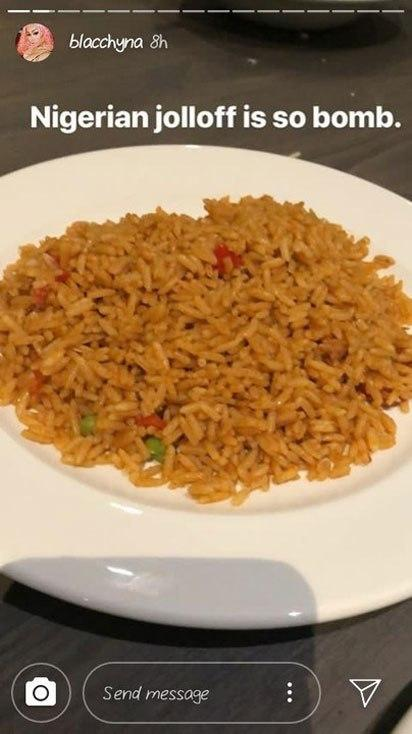 Blac Chyna appreciates her discovery of Nigerian jollof-rice.