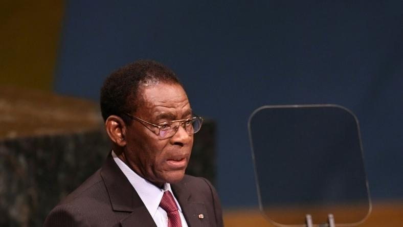 "Those on trial are accused of ""treason"" and trying to overthrow the head of state, President Teodoro Obiang Nguema (pictured September 2018), both charges which could bring the death penalty"