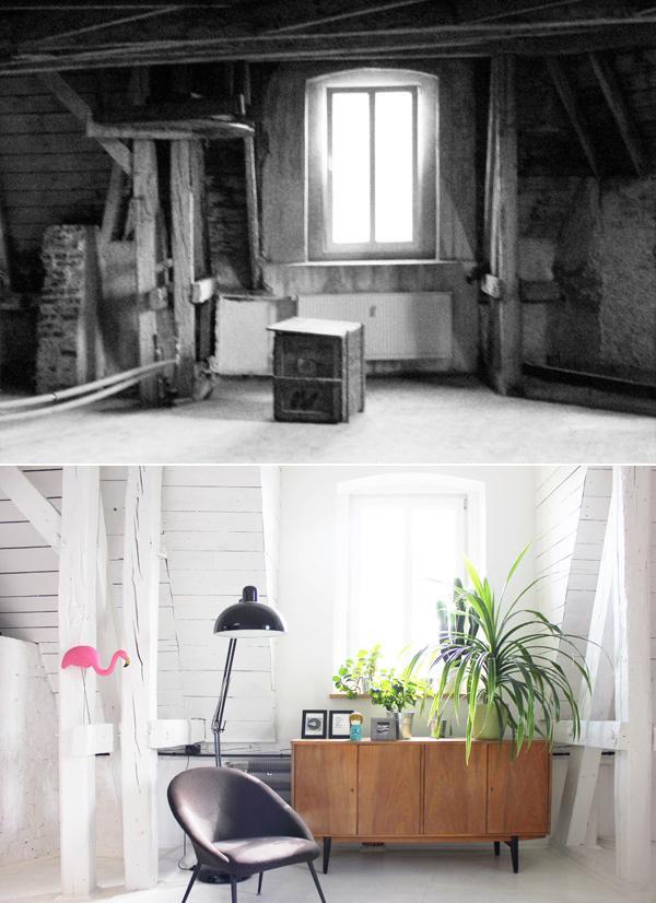 Fragment salonu przed i po remoncie.