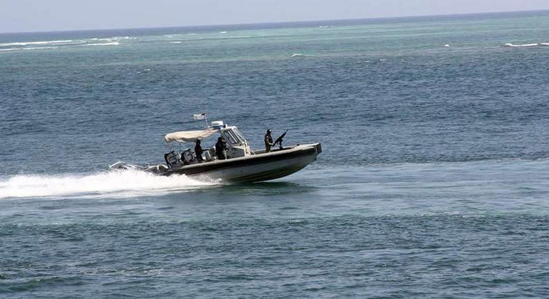 Kenya Navy boat patrolling the sea