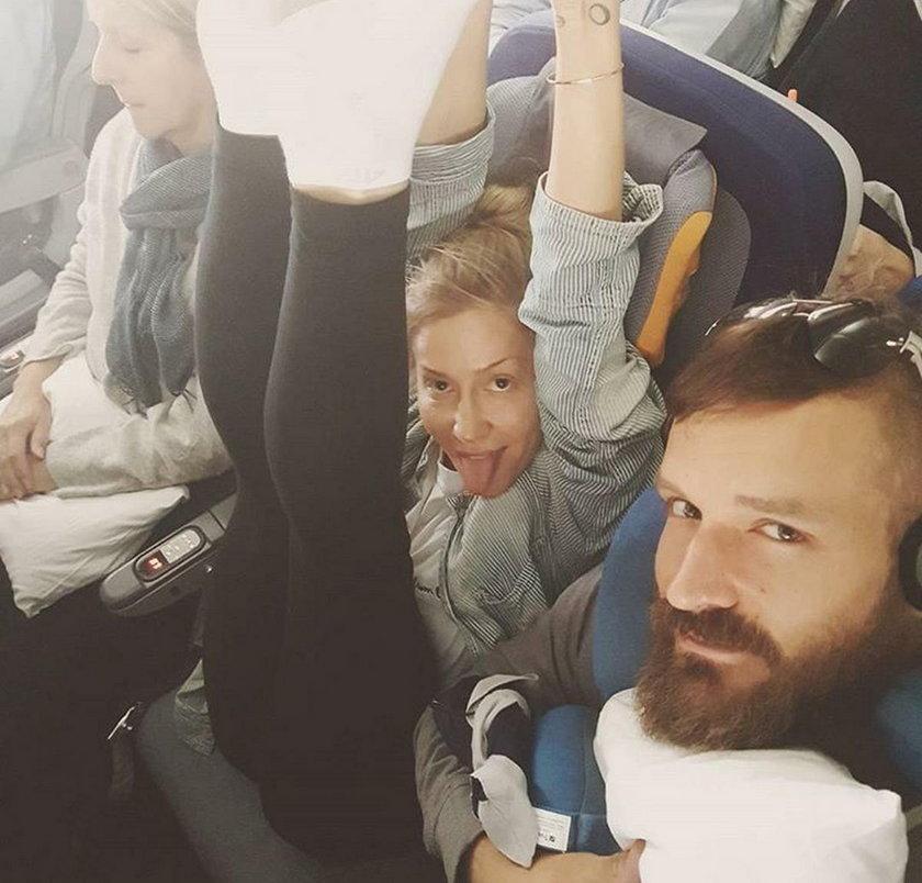 Kasia Warnke i Piotr Stramowski w samolocie