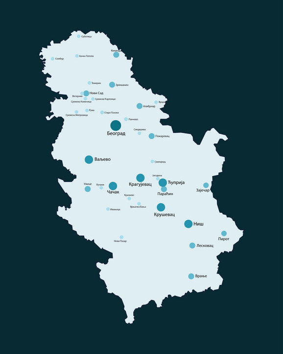 Mapa Srbije sa gradovima u kojima ima najviše zaraženih