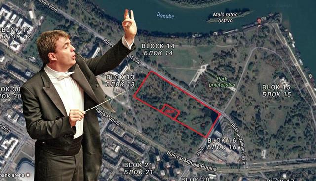 Gabrijel Felc i obeležena parcela pored Palate Srbija (bivša zgrada SIV-a) gde će koncert biti održan