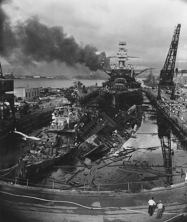 USS Pennsylvania still in dry dock after the Pearl Harbor attack.