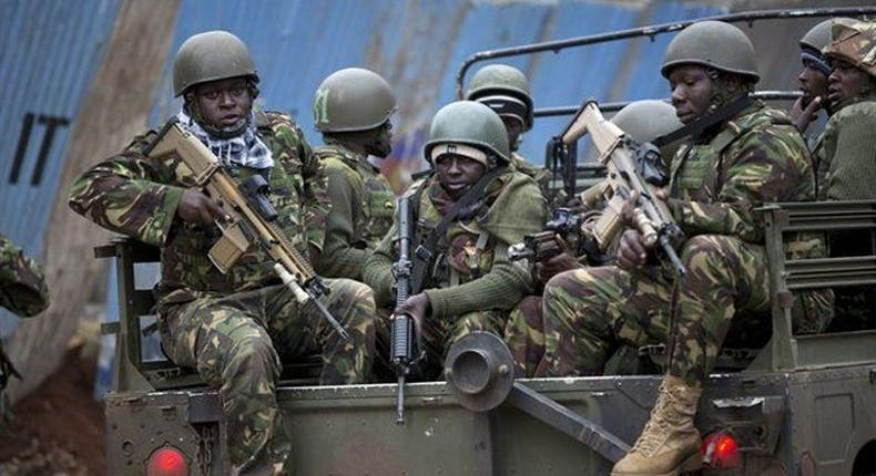 KDF soldiers during a patrol