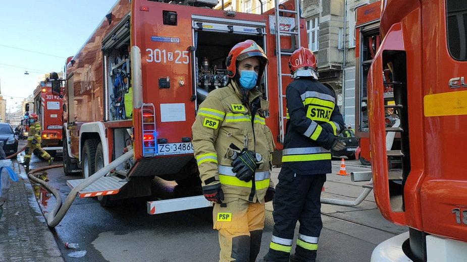 Pożar w Szczecinie przy ul. Jagiellońskiej
