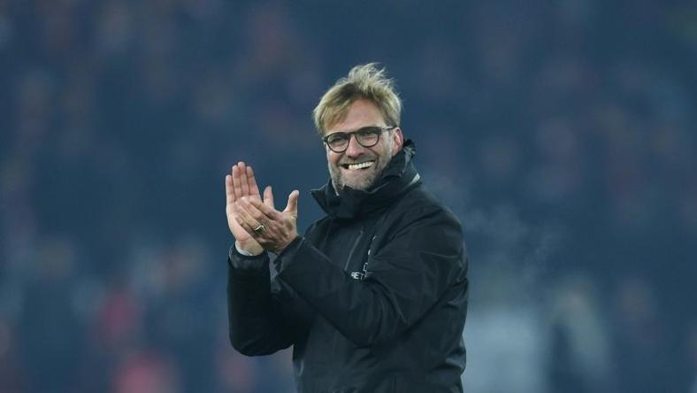 Liverpool manager Jurgen Klopp cheers with the crowd at the end of the match against Sunderland at Anfield on November 26, 2016
