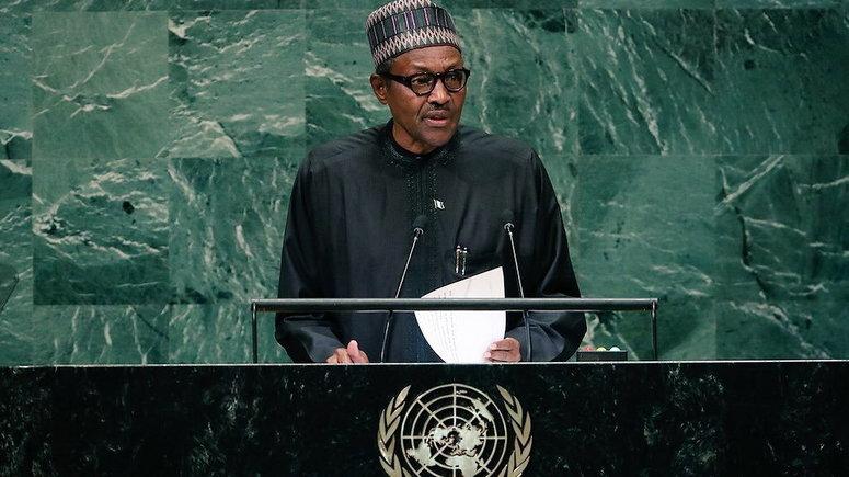 President Muhammadu Buhari at the UNGA [Twitter/@BashirAhmaad]
