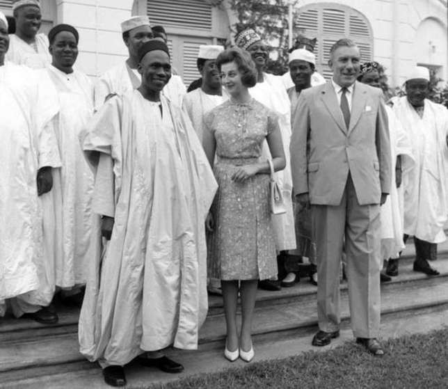 Abubakar Tafawa Balewa, Sir James Wilson Robertson, Queen Elizabeth II, who was still the country's sovereign, was represented by a member of the British royal family, Princess Alexandra (Credit - Nigerian Archives)