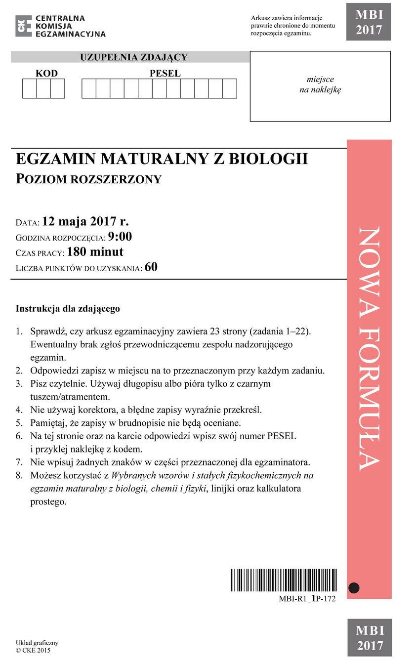 Matura 2017 biologia. Arkusze maturalne CKE.
