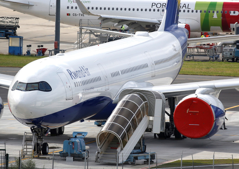 A Rwandair commercial passenger jet is pictured in Blagnac near Toulouse, France, May 29, 2019.