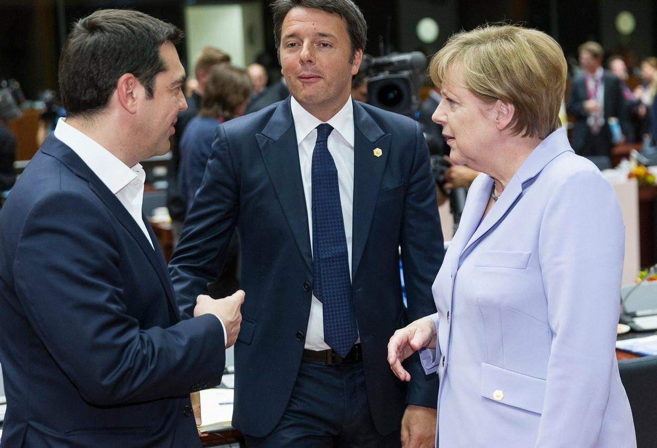 Aleksis Cipras, Mateo Renci i Angela Merkel 2015. u Briselu