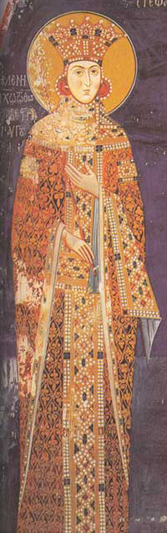 Jelena Stracimirović-Nemanjić, supruga cara Dušana, freska iz manastira Lesnovo, sredina 14. veka
