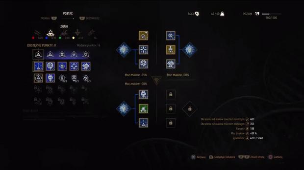 Wiedźmin 3: Dziki Gon - panel umiejętności Geralta z Rivii