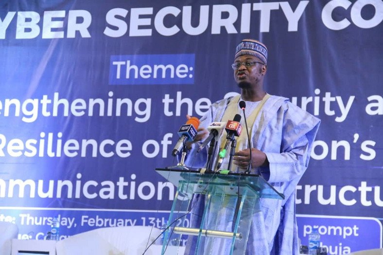 Minister of Communications and Digital Economy, Dr. Isa Ali Ibrahim Pantami at the Annual Cyber Security Conference organised by the Nigerian Communications Commission (NCC) at the Transcorp Hilton Hotel, Abuja. [Twitter/@FMoCDENigeria]