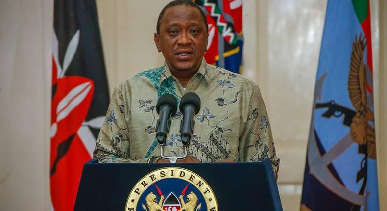 File image of President Kenyatta during the unveiling of his second term cabinet on 26 January 2018