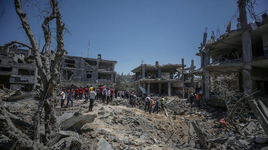 Zniszczenia w Strefie Gazy po izraelskim ataku rakietowym