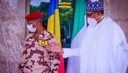 President Muhammadu Buhari meets with Gen. Mahamat Idriss Deby, President of Chad's Transitional Military Council. [Presidency]
