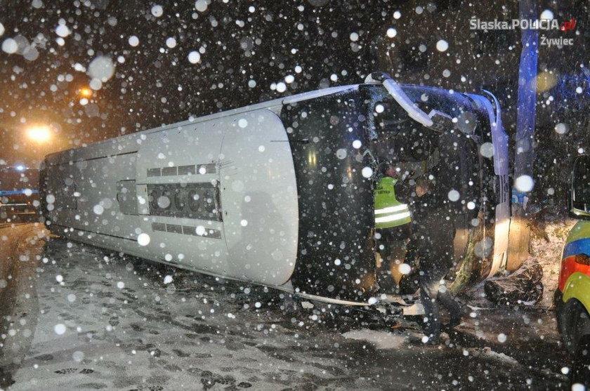 Żywiec. Wypadek autokaru w Krzyżowej powiat zywiecki