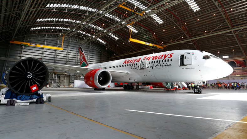A Kenya Airways Boeing Dreamliner 787-8 is seen inside a hangar at their headquarters in Nairobi.