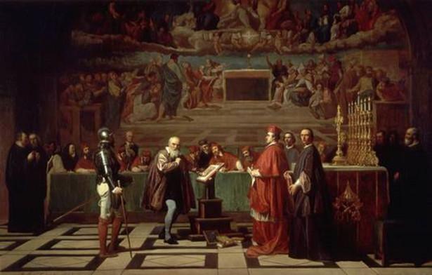 """Joseph Nicolas Robert-Fleury """"Galileusz przed Świętym Oficjum w Watykanie"""" (1847)"""