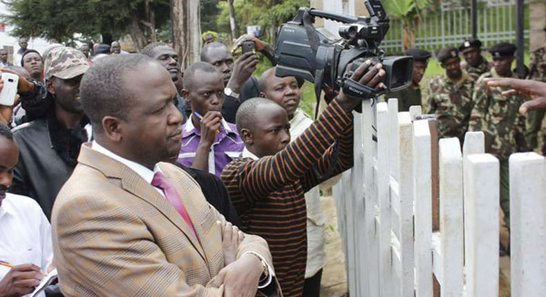 Tiaty MP William Kamket with media personnel during a past function (Daily Nation)