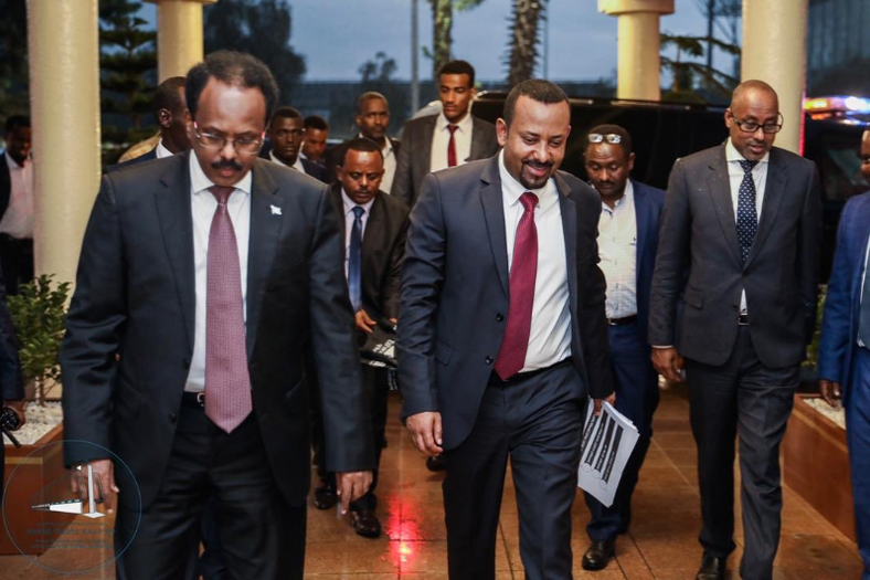 Ethiopian Prime Minister Abiy Ahmed and his Somali counterpart Mohammed Farmajo