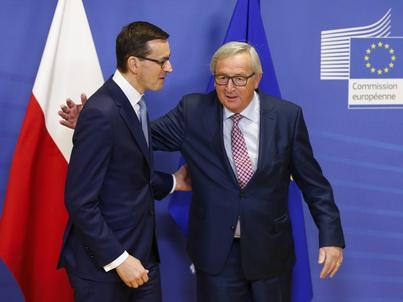 Premier Mateusz Morawiecki i szef Komisji Europejskiej Jean-Claude Juncker
