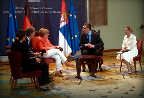 Angela Merkel i Aleksandar Vučić u Palati Srbija