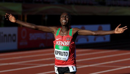 TAMPERE, FINLAND - JULY 10: Rhonex Kipruto of Kenya crosses the finish line to win the final of the men's 10,000m on day one of The IAAF World U20 Championships on July 10, 2018 in Tampere, Finland. (Photo by Stephen Pond/Getty Images for IAAF)