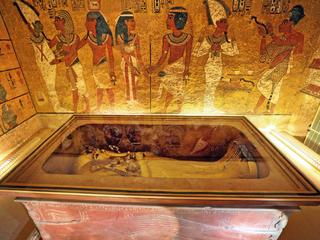 The golden sarcophagus of King Tutankhamun in his burial chamber is seen in the Valley of the Kings,