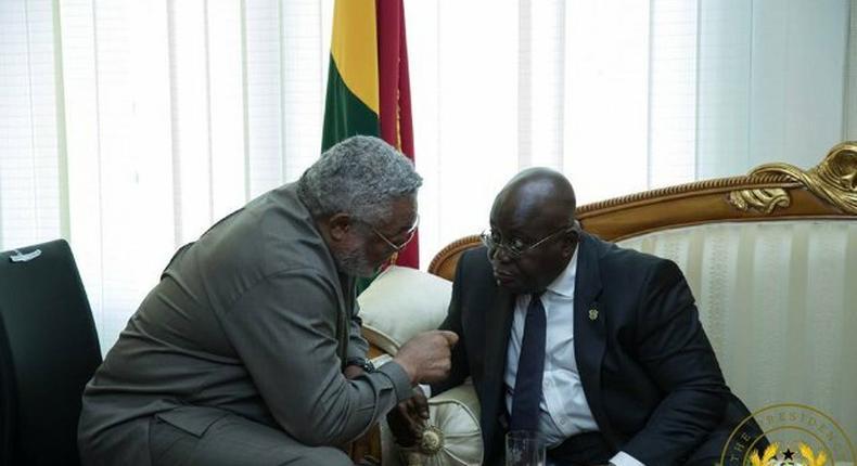 Former President Jerry Rawlings in a tête-à-tête with President Nana Akufo-Addo