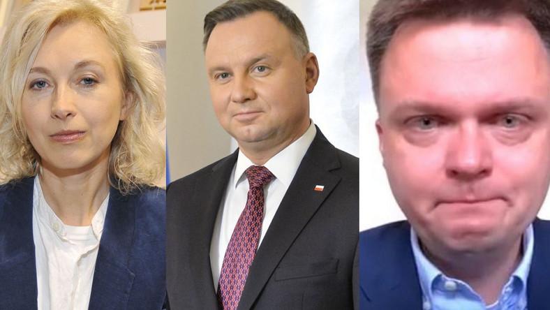 Manuela Gretkowska, Andrzej Duda, Szymon Hołownia