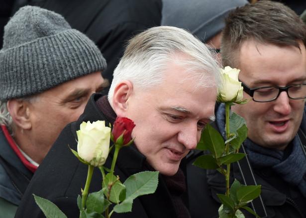 Warszawa, Marsz w obronie demokracji i wolności mediów, na zdj. Jarosław Gowin, PAP/Radek Pietruszka
