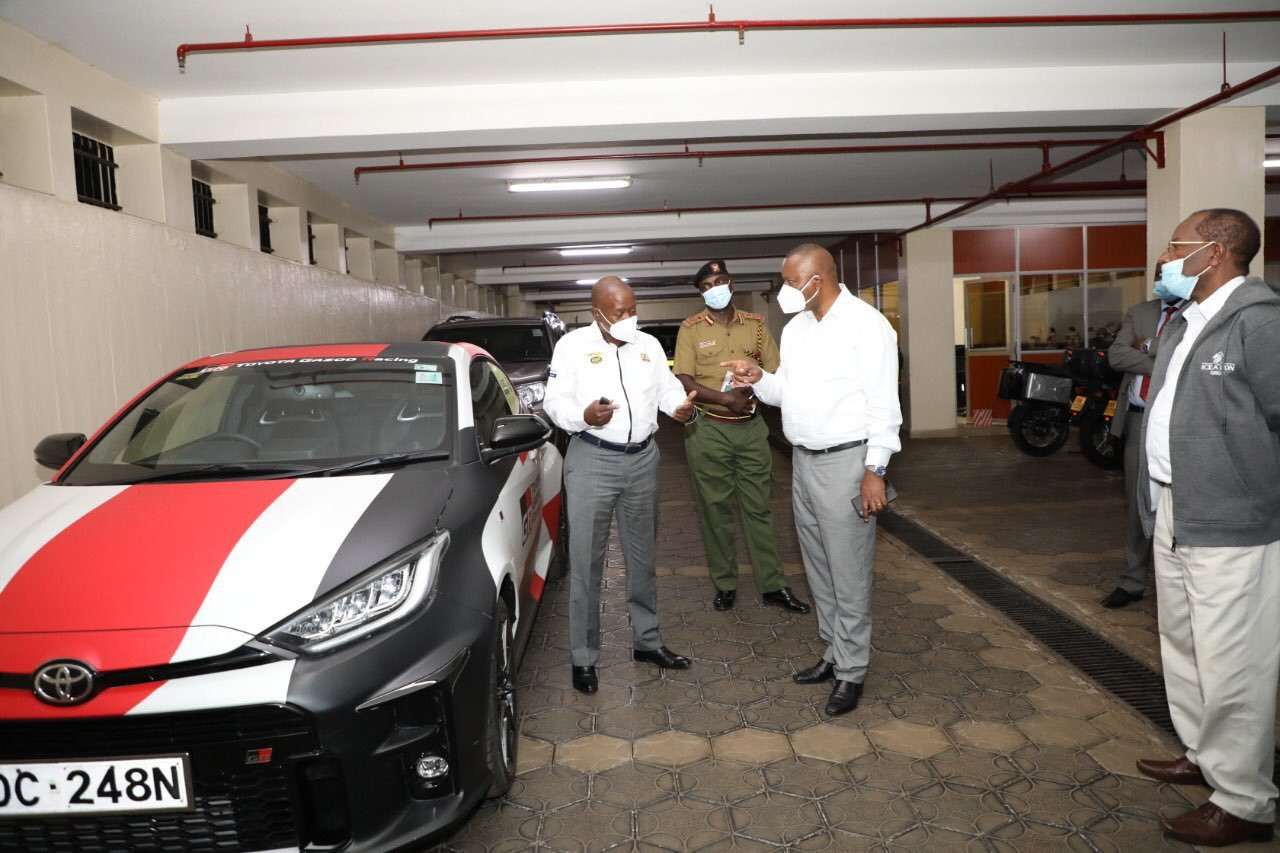 Photos of excited DCI boss George Kinoti in a Safari Rally car